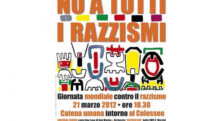 Catena umana contro il razzismo  intorno al Colosseo